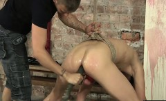 Casper finds himself roped up and bent over uncomfortably