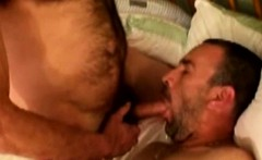 Mature hairy bear gets a facial