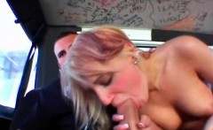 Teen blonde giving her oral exam in the sex bus