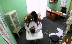 Brunette beauty gets creampie in a fake hospital