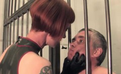 Femdom guard slaps subs and spits face