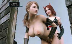 Blonde 3d babe gets fucked by shemale outdoors
