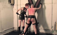 Unrelenting femdom in latex uniform whips bounded sub hard