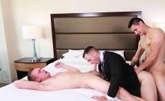 Bareback threesome hardcore butt fucking in a hotel room