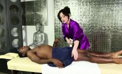 Beautiful brunette Jennifer White massages a big black rod