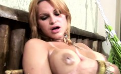 Thick cocked tranny strokes herself hard until she cumshots