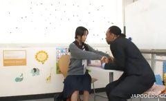 Japanese teen kissing at school