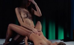 Huge dildo in their hands trying first lesbians penetrate