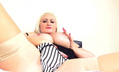 Blonde mature lady masturbating
