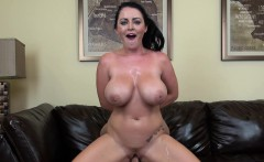 Sophie Dee's huge boobs jiggle and dance as she wildly rides a stick