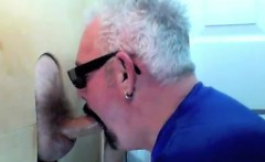 Two buddies drop by to a glory hole to be sucked by a mouth