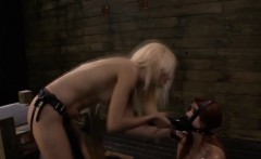 Mistress uses her redhead slave Rose Red as a human dildo