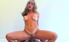 older blond with tan lines rides dick in reverse cowgirl with cum shot finish