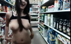 Sugar in red dress flashing ass and boobies in store
