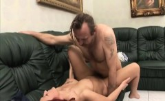 Redhead whore with big tits fucked by crippled guy