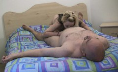 Fat old guy enjoying some teen pussy
