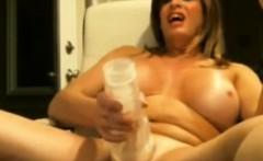 Mature Shemale with big boobs masturbates.
