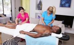 Asian babes massage black guy big dick threesome