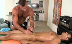 Hunk is stuffing homo boy with dildo before butt slam