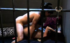 Two sexy women hot foursome session in the jail cell