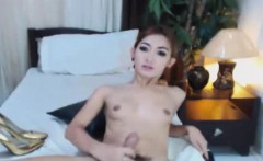 Hottie Shemale Shows Off Ass and Masturbates her Hard Dick
