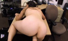 Brunette woman gets pussy pounded at the pawnshop