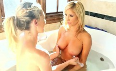 Blonde teen rubs pussy