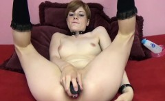 Horny college girl Ava Little uses three toys to fuck her