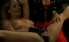 Lesbo BDSM scene with slave getting toyed