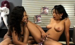 Ravishing ebony girls devouring and toying each other's fiery pussies