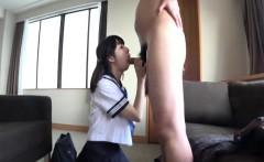 Adorable schoolgirl Mio gets huge facial after nice blowjob