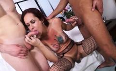 TRANSBELLA - Latina shemale enjoys two Italian cocks