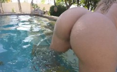 Olivia Austin has some summer fun in the pool