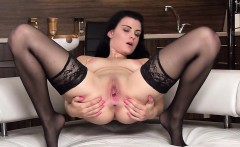 Nasty czech sweetie spreads her narrow slit to the bizarre