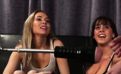 Clothed babes watch loser