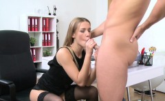 Blonde agent in stockings fucking in the office
