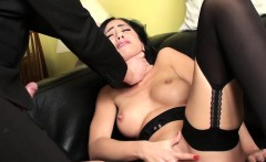 Choked submissive rubs her clit