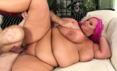 Man stuff his face in a BBWs fat ass before fucking her