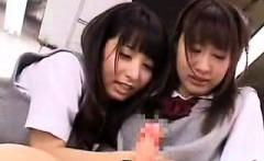 Adorable Japanese schoolgirls exploring their fantasies wit