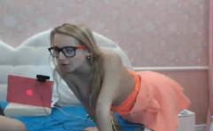 dazzling blonde nerd got cum on her mouth