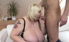 Big breasted BBW doing her toyboy