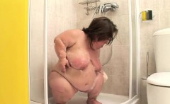 Busty midget takes a kinky shower