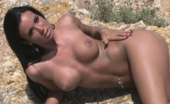 Desirable beauty loves being naked at the beach
