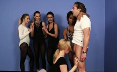 Young CFNM ballerina sucking trainers dick