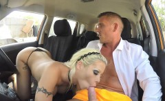 Booby blonde woman Barbie Sins banged by driving instructor