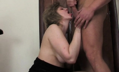 Chubby mature blowjob facial