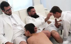Boy sucks hard cock out of pants and black gay twink medical