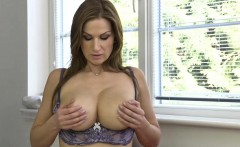 Huge titted mom undressing on the couch
