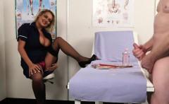 Bigtitted nurse voyeur encouraging sub to tug