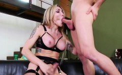 Tranny Eva deep throats a monster cock